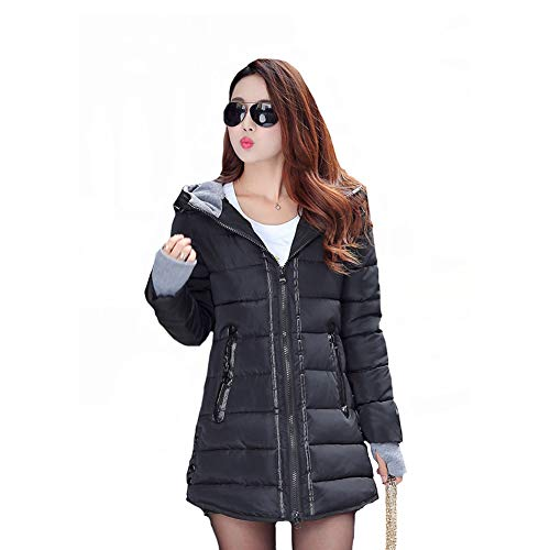 Capucha 1pcs Mujer Mei Abrigo Chaqueta Con Talla Black Grande Para Algodón De wqBxxCAn
