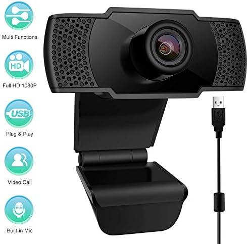 Webcam con Microfono, PC Webcam USB 2.0 1080P FHD videocamera PC Desktop per videochiamate, Studio, conferenza, Registrazione, Gioco con Clip Girevole