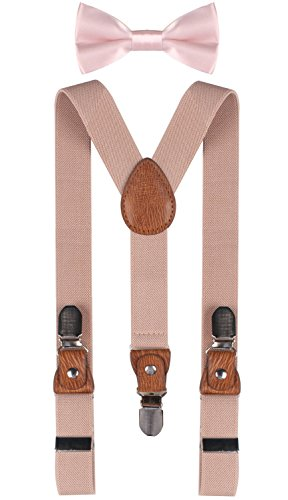 BODY STRENTH boys suspenders infant bowtie suspender and bow tie set Nude Pink
