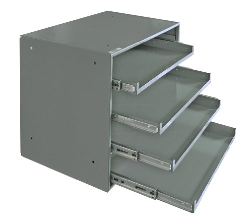 Durham 310B-95 Heavy Duty Prime Cold-Rolled Steel Triple Track Bearing Slide Rack, 4 Compartments, 12-1/2