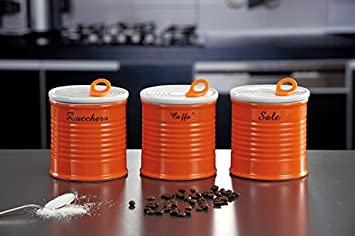 Set tre barattoli zucchero, sale, caffè in ceramica colorati ...