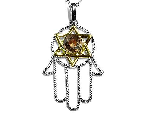 Star K Large Hamsa Hand Jewish Star of David Pendant Necklace with Genuine Smoky Quartz 10k Two Tone Gold