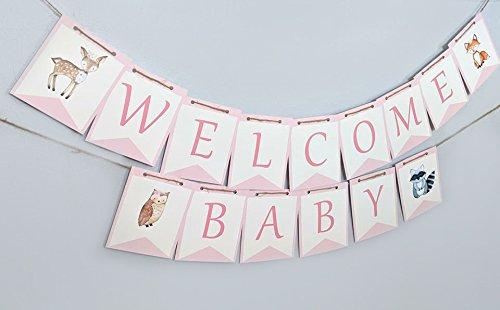 Amazon Com Woodland Welcome Baby Banner Pink Woodland Baby Shower Banner Handmade