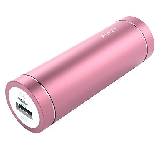 AUKEY 5000mAh Portable Charger - Portable Power Bank for iPhone 7, 7 Plus, 6S, 6s Plus, iPad, Samsung Galaxy S7/S6/Edge, Nexus 5X/6P & More (Pink)