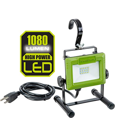 PowerSmith PWL110S 1080 Lumen LED Work Light Stand and Large Adjustable Metal Hook, Compact, Green
