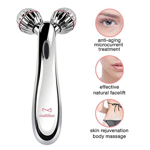 3D Microcurrent Facial Roller, Multifun Face Beauty Roller Body Massager for Anti Aging, improve Facial Contour, Skin Tone, Wrinkle Reduction and Firm Body Skin, Smooth Dimples, Professional Skincare