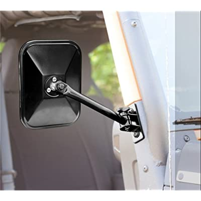 Rugged Ridge 11025.14 Textured Black Rectangular Quick Release Mirror Relocation Kit for 97-18 Jeep Wrangler TJ, LJ & JK: Automotive