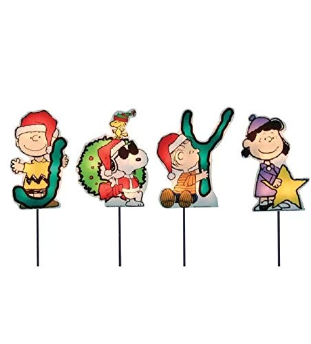 Product Works Set of 4 Pre-Lit JOY Peanuts and Snoopy Christmas Pathway Markers - Clear Lights