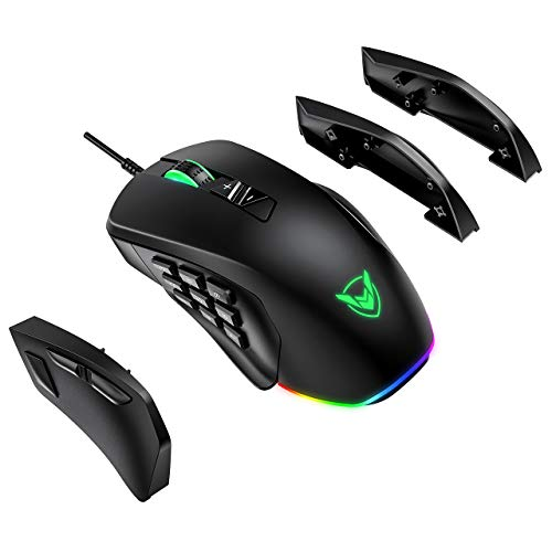 PICTEK Gaming Mouse Wired, 24,000 DPI Optical Sensor-Chroma RGB Lighting, MMO Gaming Mice with 17 Programmable Buttons, 4 Interchangeable Side Plate 3/9 Buttons, Palm/Claw Grip Ergonomic for PC Gamer