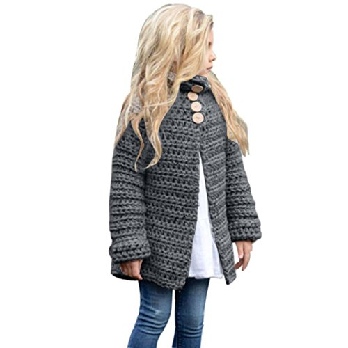 Toddler Kids Baby Girls Outfit Clothes Button Knitted Sweater Cardigan Coat Tops (6T, Gray) (Hello Kitty Wedding Dress)