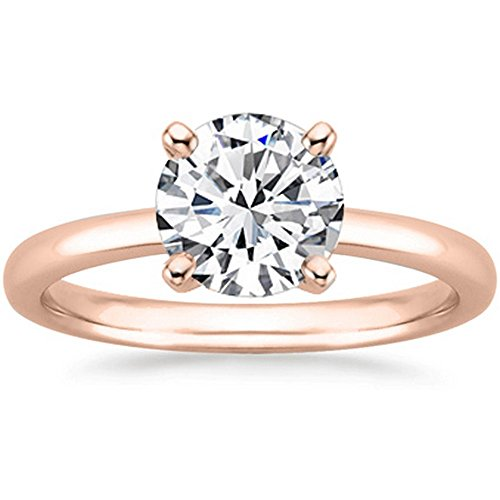 1/2 Carat 14K Rose Gold Round Cut Solitaire Diamond Engagement Ring (0.5 Carat K-L Color I2 - Rose Si1 Diamond 14k