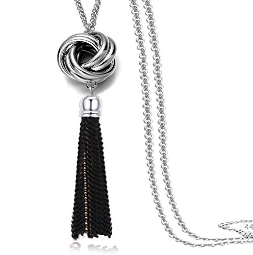Simple Thin Chain Knot and Tassel Long Necklace Bar Y Lariat Drop Pendant for (Tassel Drop Necklace)