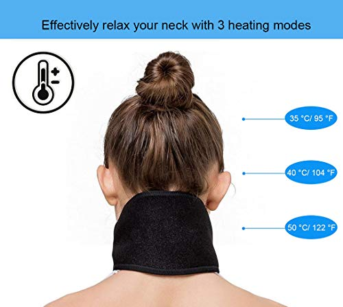 Mengya Far Infrared Portable Electric Heating Pad for Neck, 3 Temperatures Control with 6.2 ft USB Cable,Hot Therapy, Pain Fatigue Relieve, Improve Blood Circulatio, Keep Warm (Black)