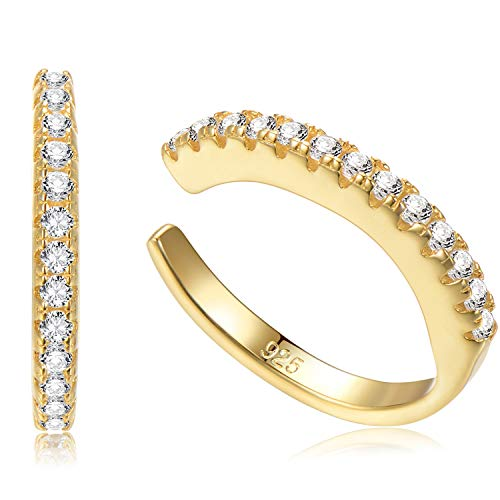 Sterling Silver Ear Cuff No Piercing CZ Ear Wrap, Pair of 2, 18K Yellow Gold Plated