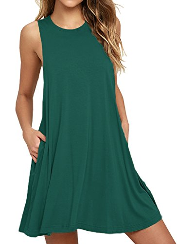 VIISHOW Women's Sleeveless Pockets Casual Swing T-Shirt Dresses Dark Green - T-shirt Dress Womens Darks