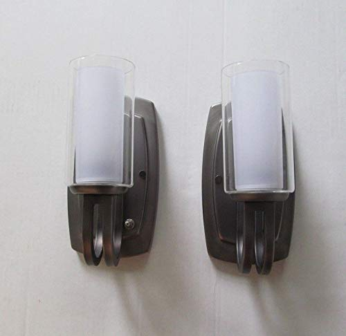 2 Antique Nickel 12 Volt RV Wall Sconce Clear Candle Glass Light