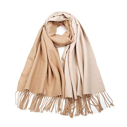 (LakeMono 100% Wool Scarf, Large Solid 2 Tone Wrap Shawl for Woman(79'' 27.55'',Camel & Beige))