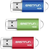 EASTFUN 3 Pack 16GB USB 2.0 Flash Drive Memory Stick Thumb Drive Thumb Stick Jump Drive Zip Drive Pen Drive,with LED Indicator,3 Pcs Colors:Red/Green/Blue
