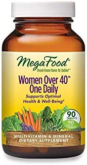 MegaFood, Women Over 40 One Daily, Daily Multivitamin and Mineral Dietary Supplement with Vitamins C, D, Folate, Biotin and Iron, Non-GMO, Vegetarian, 90 drugs (90 servings)