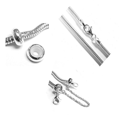 Dreambell .925 Sterling Silver 3mm Snake Bracelet With 2 Robber Stoppers And Safety Chain For European Bead Charm 8 Inches (8 Inch Pandora Charm Bracelet)