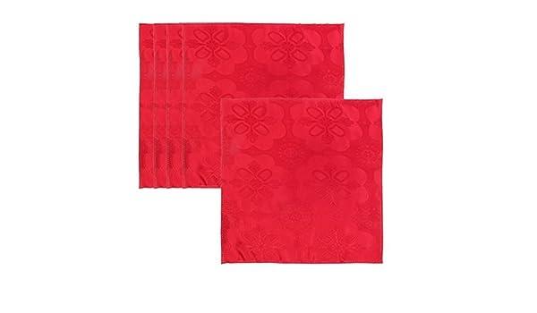 Amazon.com: eDealMax estampado de flores de tela de cocina Mesa Cuadrada decoración servilleta de tela 45 x 45 cm 5 piezas de Red: Kitchen & Dining