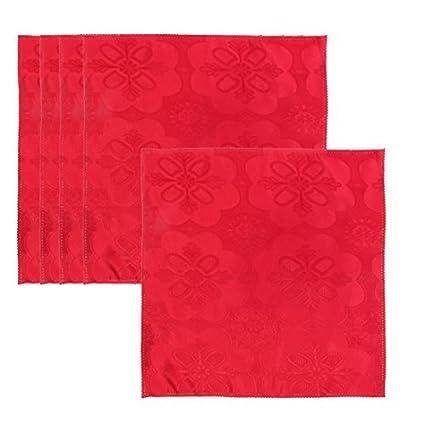 eDealMax estampado de flores de tela de cocina Mesa Cuadrada decoración servilleta de tela 45 x
