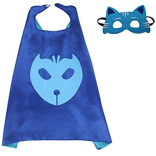 Walmart Batgirl Costume (Dress Up PJ Masks For Kids Catboy Owlette Gekko Mask Cape (Blue))
