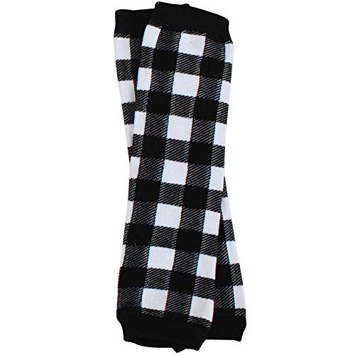 Christmas and Halloween baby & toddler Leg Warmers for Girls & Boys in various styles (Newborn (up to 12 pounds), Black and White Buffalo Plaid) -