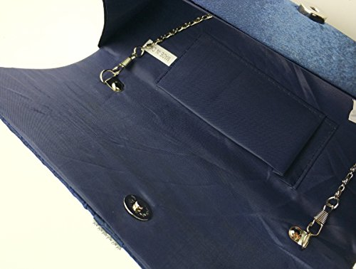 Diamante Satin AITING Blue Evening Bag Pleated Prom 5 Womens Navy Purse Handbag Clutch Bridal H5UnqUEaw