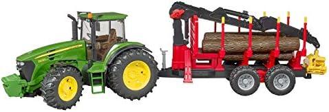 Bruder-BRUDER-3054-TRACTEUR John Deere 7930 con rimorchio forestale e 4 rondelle di legno, 3054, verde e rosso