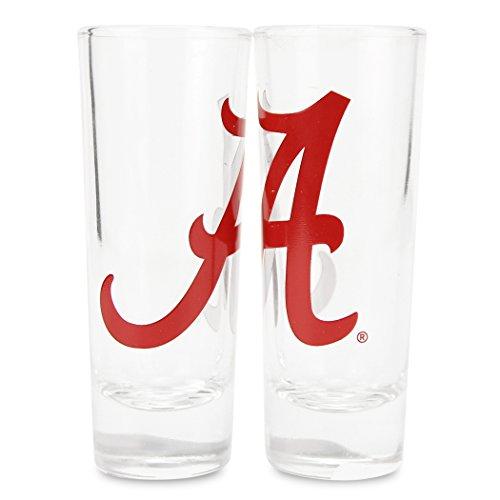 Boelter NCAA Color Team Logo 2oz Cordial Shot Glass 2-Pack (Alabama Crimson - Glass Alabama