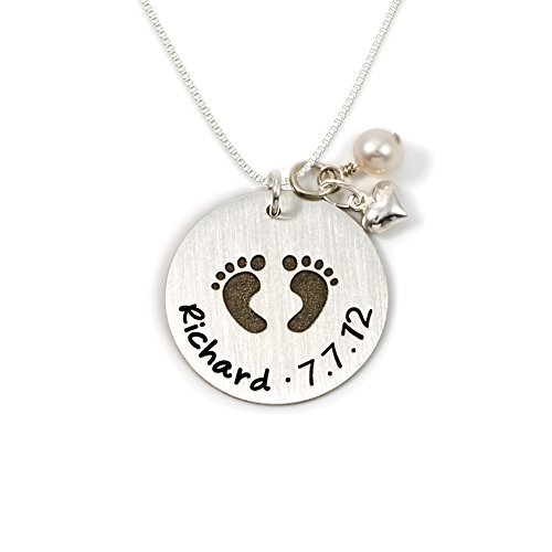 - Baby Footprint Personalized Sterling Silver Name Necklace. Customize with Child's Name, Date or Special Wording, Engraved with Solid Baby Feet. Choice of Sterling Silver Chain. Gifts for Her, New Mom