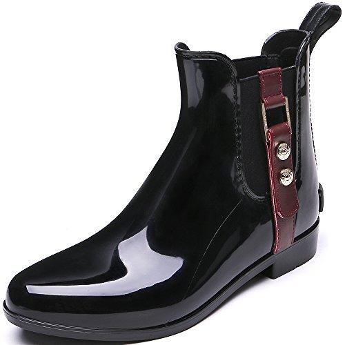 TONGPU Womens Fashion Rain Boots Slip Ons Ankle Booties Wine ZwLSfEeHVH