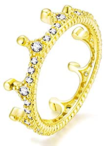 Qings Cubic Zirconia Ring Crown Element Wedding Ring 925 Sterling Silver Gold Plated Princess Eternal Ring Fashion Casual Ring
