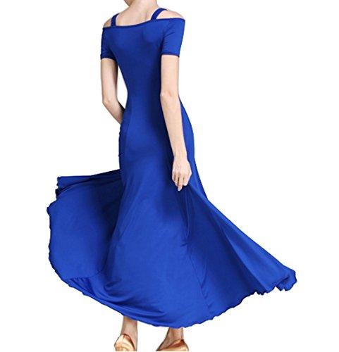 dress dress National short sleeve Waltz skirts standard Sling Cha Ballroom Blue dress Cha rznqr5w