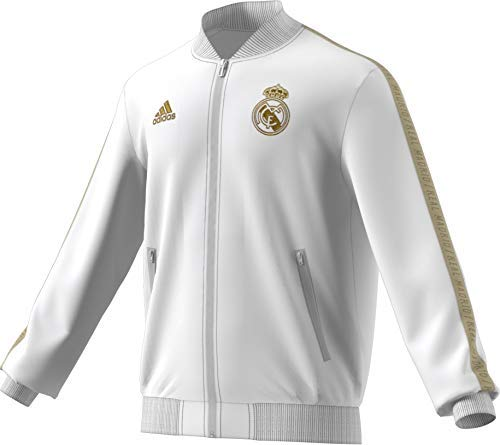 adidas Men's Real Madrid Anthem Jacket (White/Gold) (S)
