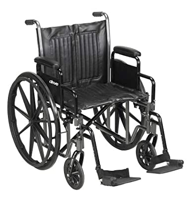 McKesson Standard Wheelchair with Swing Away Footrests - Swing-Away Footrests, 20 Inch Seat, 350 lbs. Capacity - 62164201