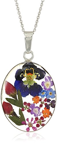 Sterling Silver Multi Pressed Flower Oval Pendant Necklace, 18