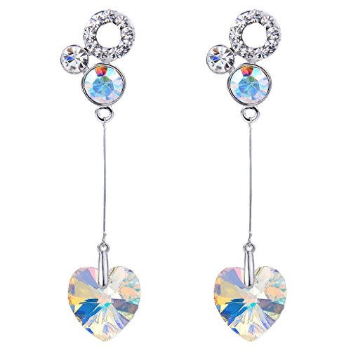 - FANZE Women's Love Heart Long Chain Dangle Periced Earrings Clear AB Made with Swarovski Crystal