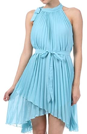 ba3c1cd11c4 FOPleatSolid1-8209 Asymmetrical Hem Pleated Short Sleeveless Dress in  Semi-Opaque Solid Colours -