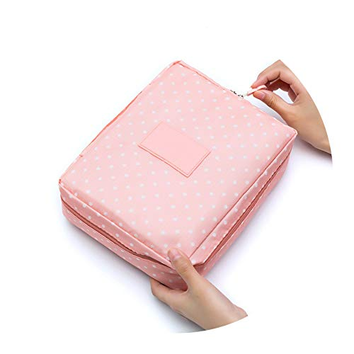 (Make Up Bag Women waterproof Cosmetic MakeUp bag travel organizer for toiletries toiletry kit,Pink dot)