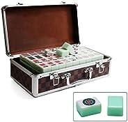 Qazxsw 144 Standard Mahjong,Tiles Household Mahjong Box with Aluminum Mahjong Box Travel Mahjong Game Gifts for Friends,Gree