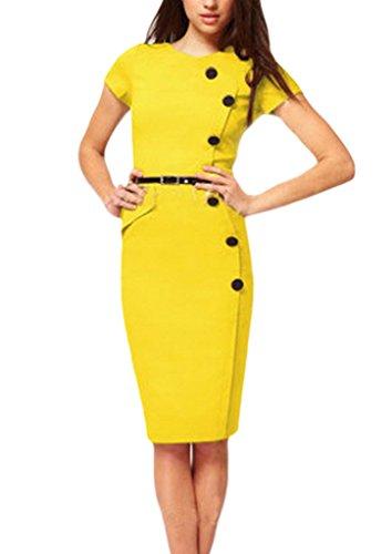 Smile YKK Elegant Damen Sommer Knopf Party Kleid Bodycon Kleid Cocktailkleid Business Kleid Knielanges Kleid Gelb