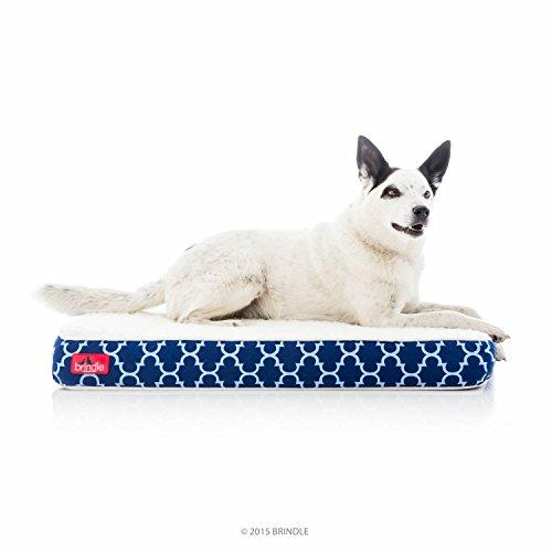 Brindle Orthopedic Memory Foam Pet Bed, Medium 34 x 22, Navy Trellis