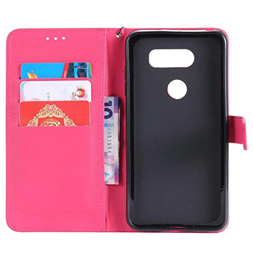UNEXTATI LG V30 Case, Leather Magnetic Closure Flip Wallet Case with Card Slot and Wrist Strap, Slim Full Body Protective Case (Hot Pink #2) by UNEXTATI (Image #1)