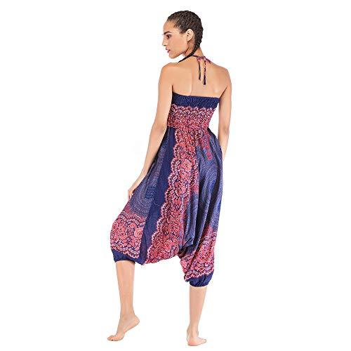Harem Pants Women's Hippie Bohemian Yoga Pants One Size Aladdin Harem Hippie Pants Jumpsuit Smocked Waist 2 in 1 (Free, Blue) by BingYELH Yoga (Image #4)
