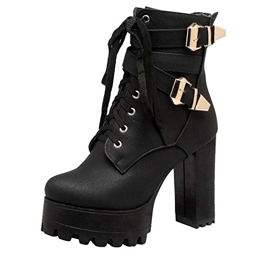 SJJH Ankle Boots with Large Ankle Boots with High Chunky Heel Black