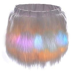 Mini Led Fur Skirt With LED Lights