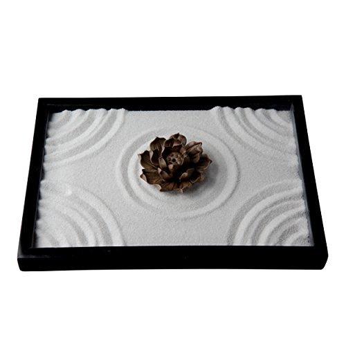 ICNBUYS Jardín Zen Kit de Mesa de Arena de Incensarios Japoneses con Rastrillo Libre Herramienta de Empuje de Arena y Pluma...