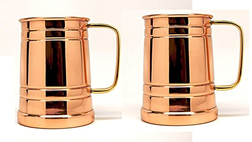 Tankard Large Moscow Mule Copper Mugs, 20 Oz - Handmade of 100% Pure Copper, Brass Handle set of 2